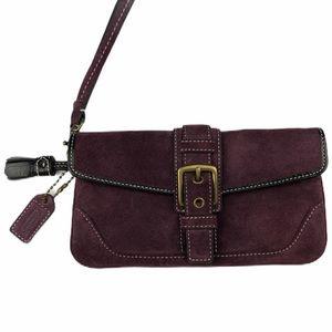 Coach Suede Wristlet tassels charm purple snap